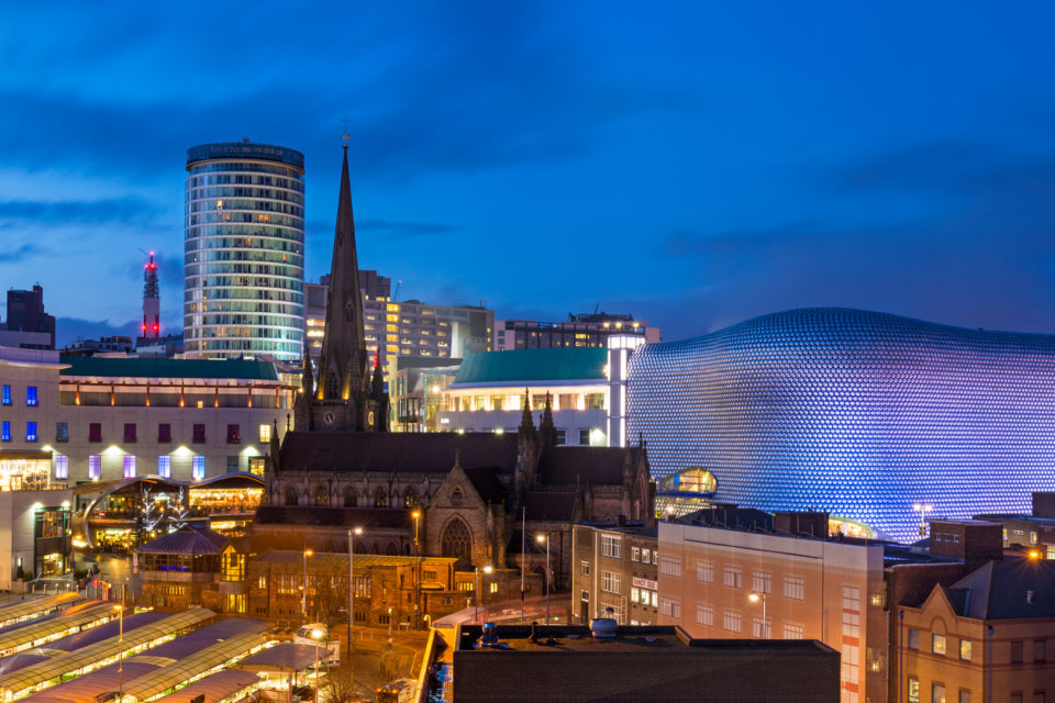 cityscape of Birmingham in the West Midlands.