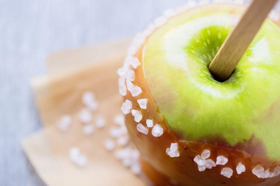 Caramel apple with sea salt.