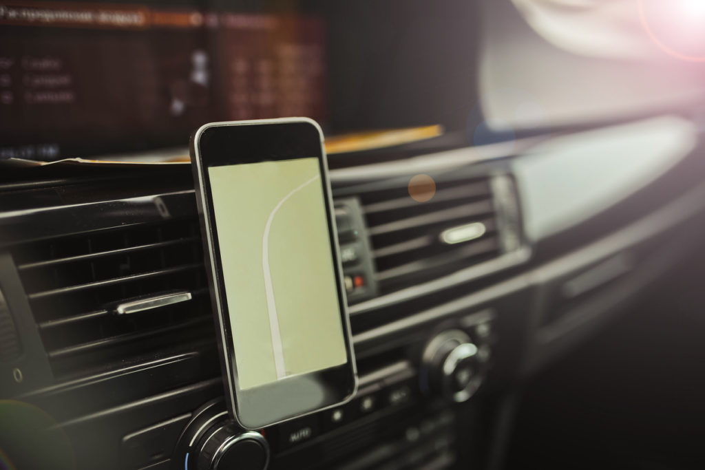 Navigator on the smartphone of a modern car.