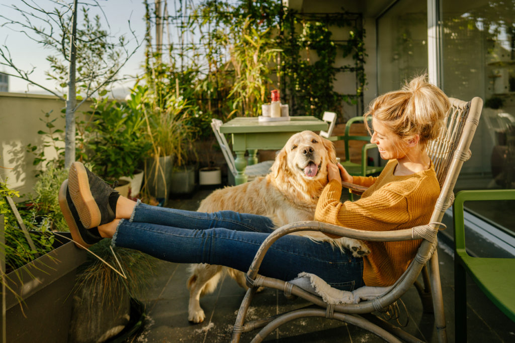 Photo of young woman and her pet enjoying together on the balcony of their loft apartment