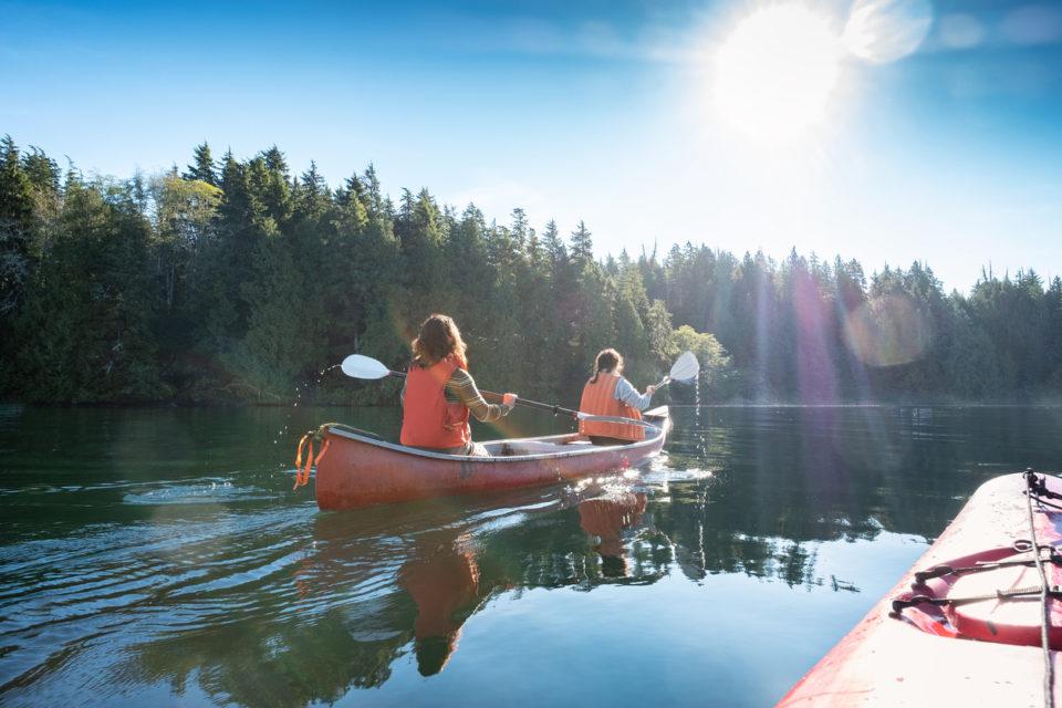 Women canoeing in the water