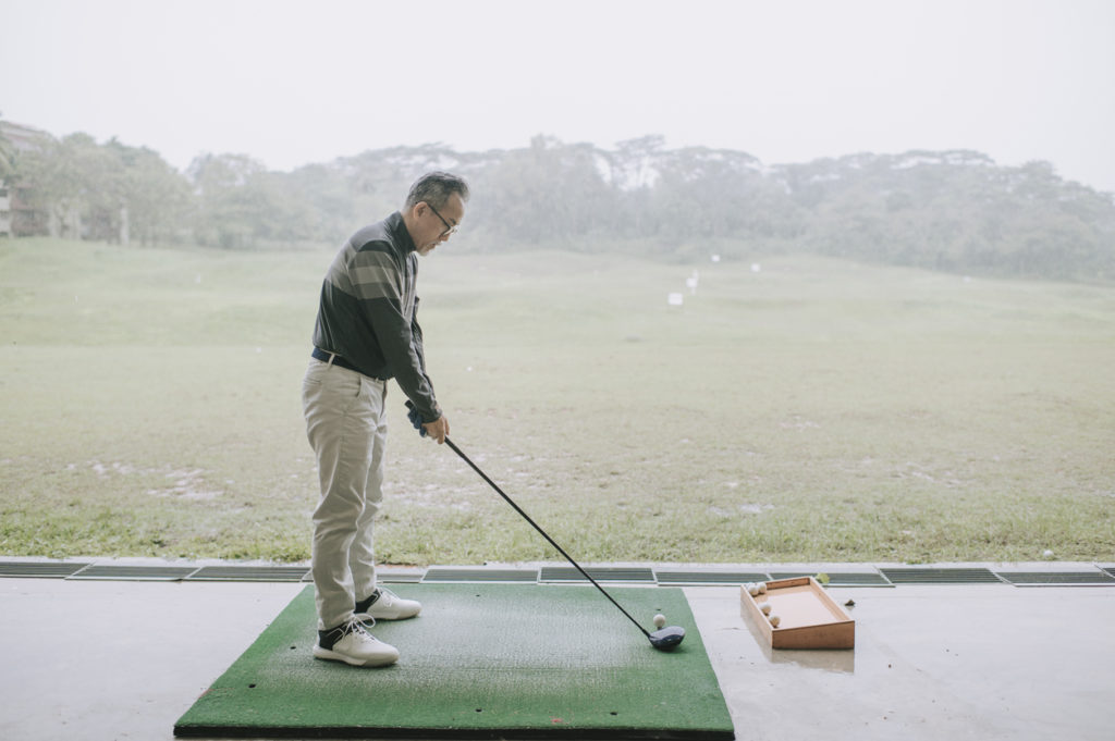 Golfer at driving range